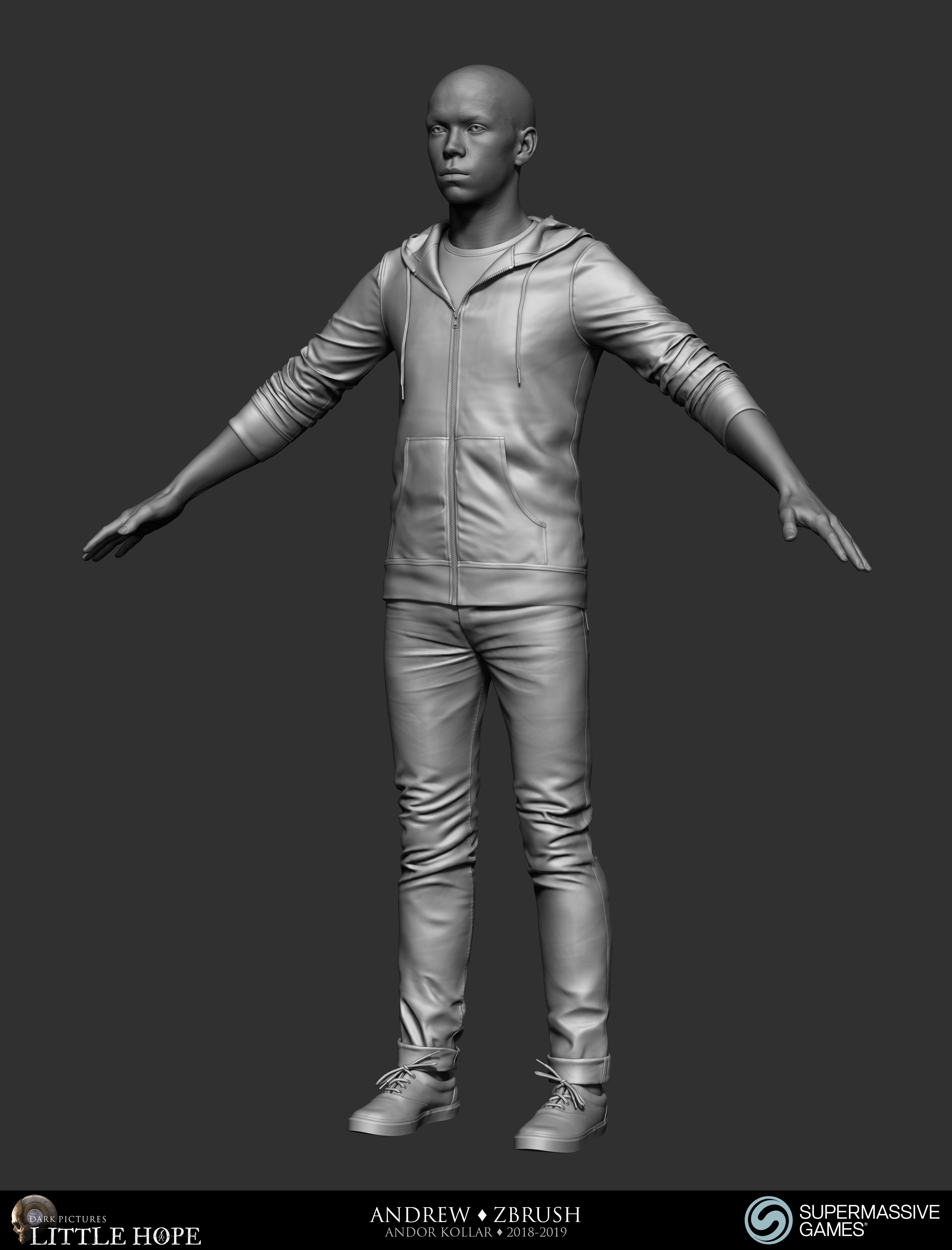 Little Hope, Andrew, 3d character, ZBrush sculpting, hoodie, jeans